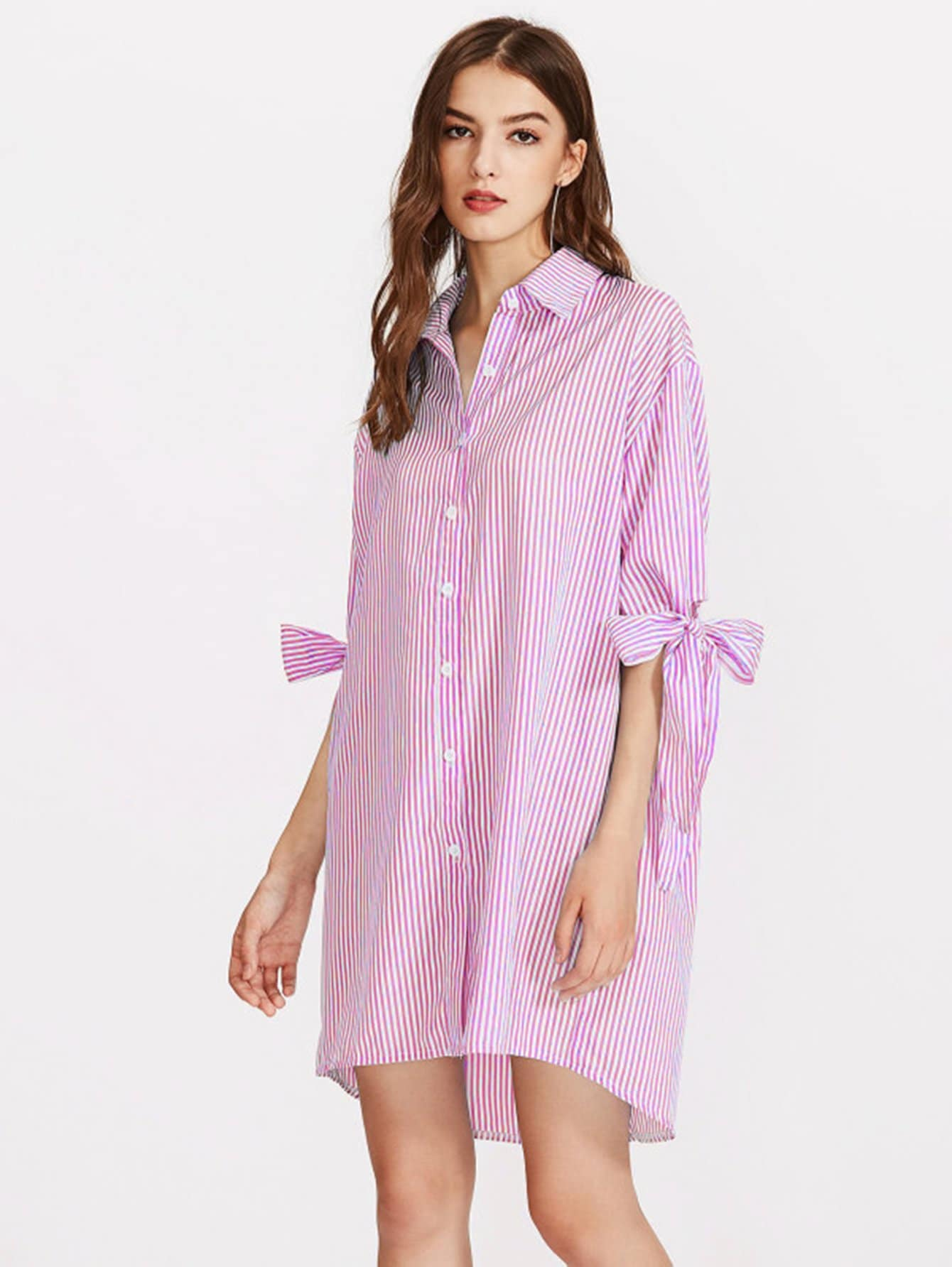 Vertical Striped Bow Tie Cuff Dip Hem Shirt Dress striped side curved dip hem shirt dress