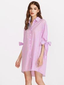 Vertical Striped Bow Tie Cuff Dip Hem Shirt Dress
