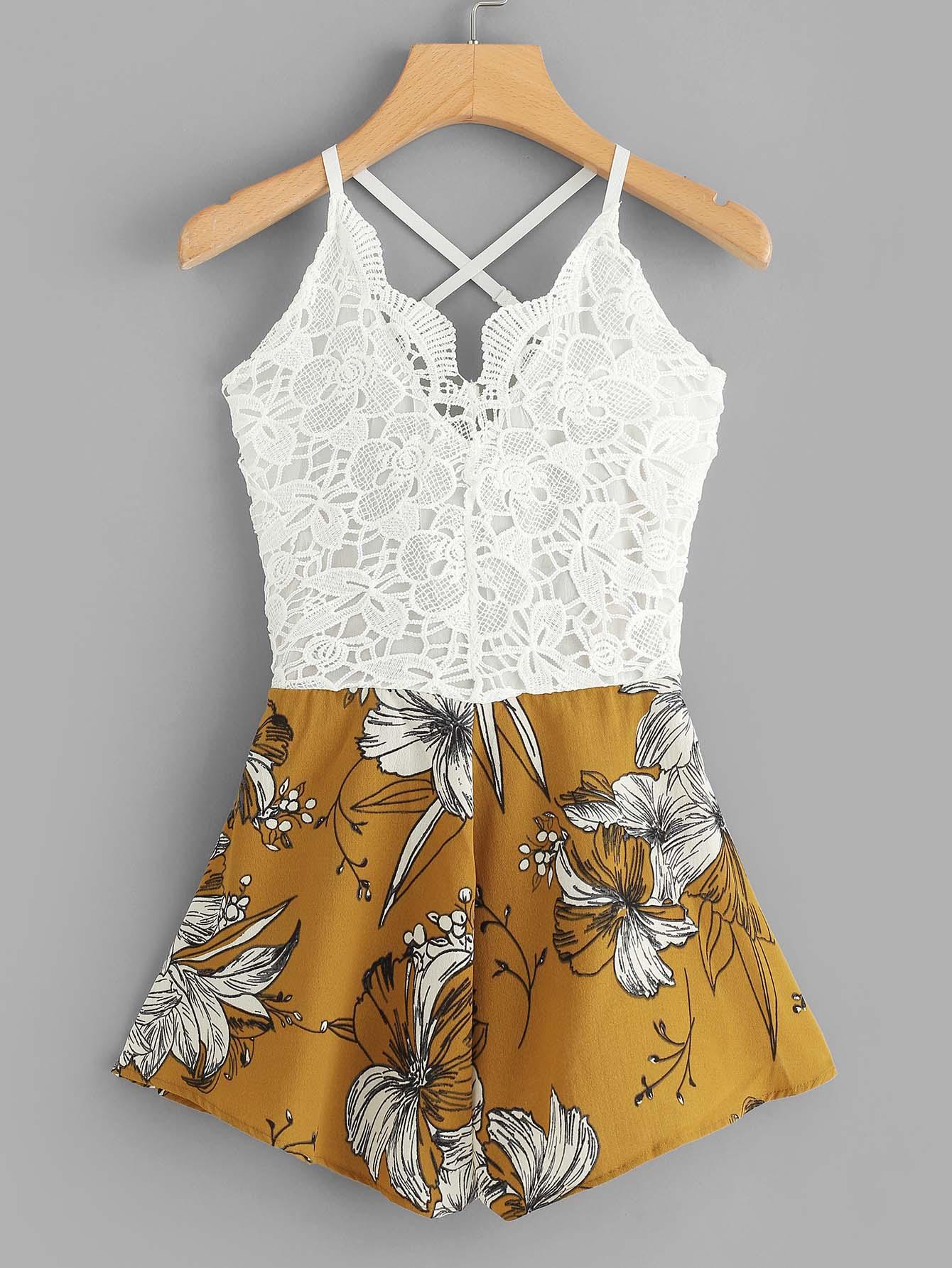 Crochet Lace Panel Bow Tie Back Florals Romper lace panel criss cross bow tie back cami top with florals shorts