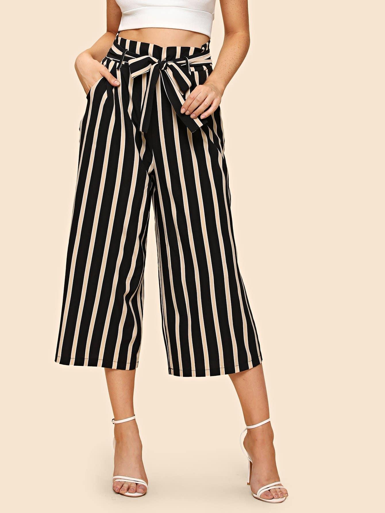 Купить Широкие брюки с полосками на веревочке, Nathane, SheIn