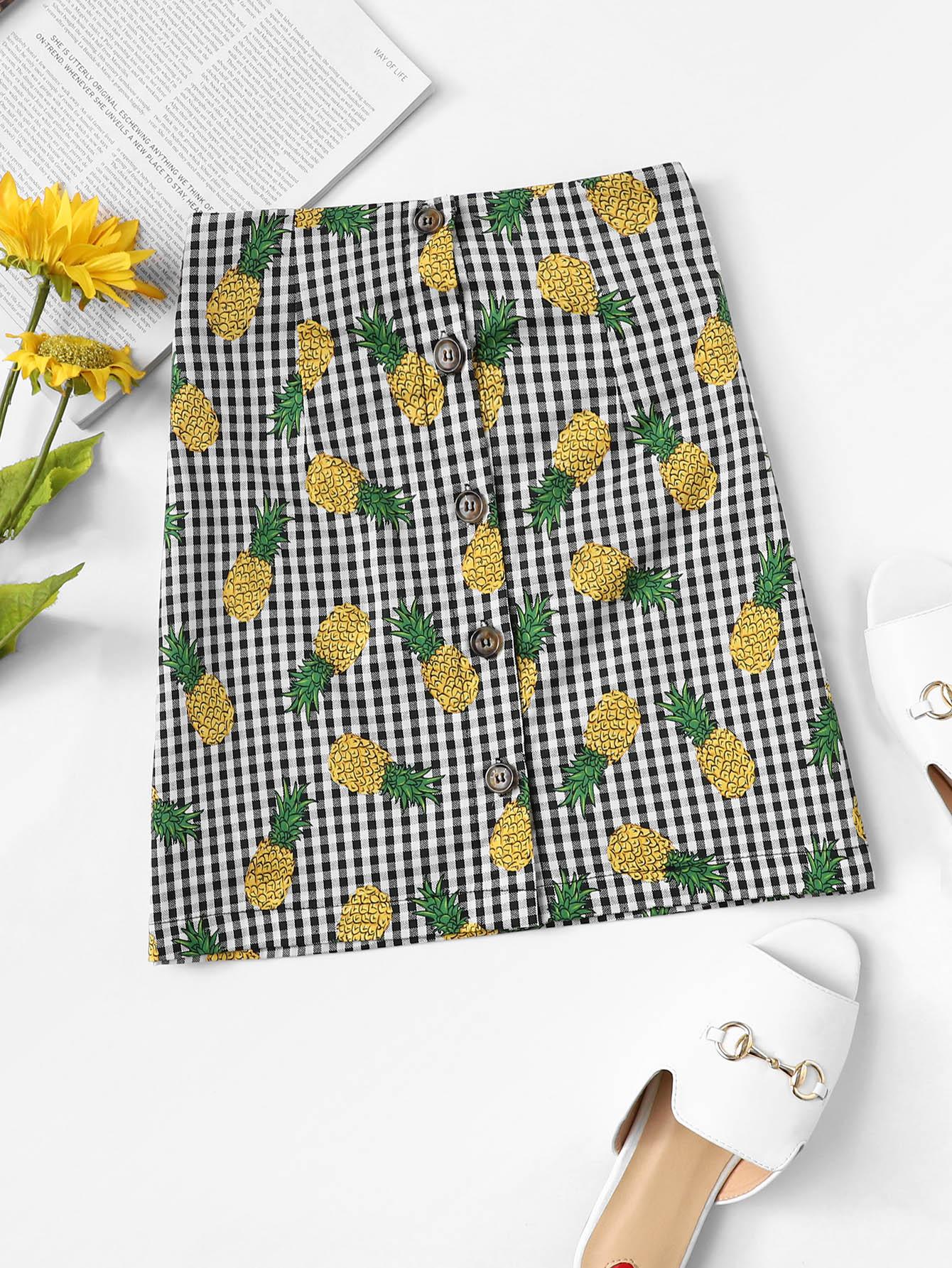 Pineapple Print Checked Skirt