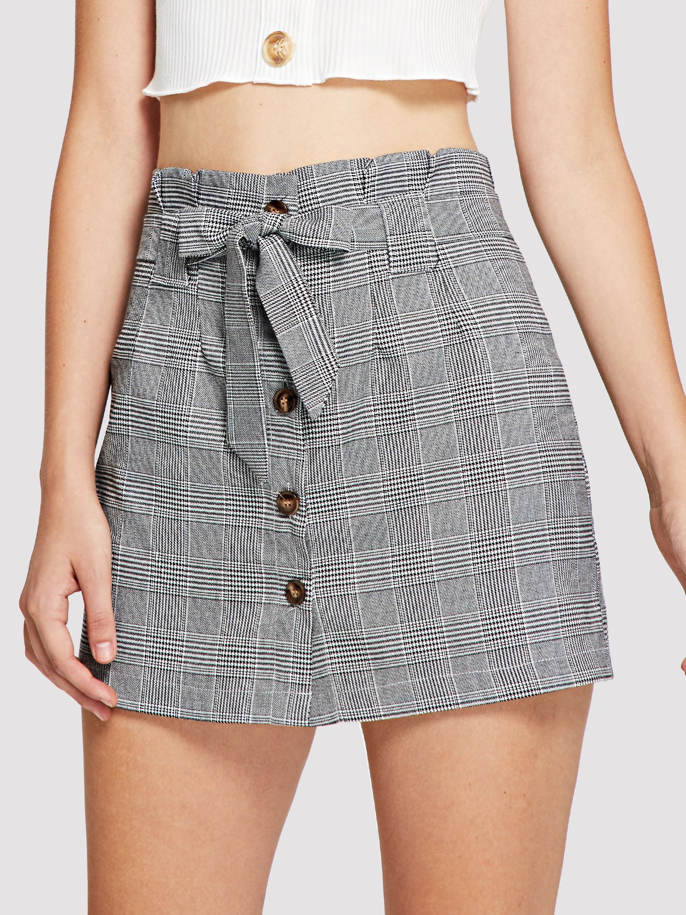 Single Breasted Self Tie Waist Checked Skirt inuovo 7132