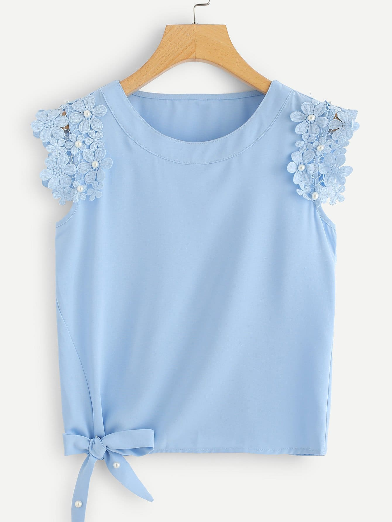 Knot Side Pearl Beaded Detail Top contrast mesh pearl beaded detail top