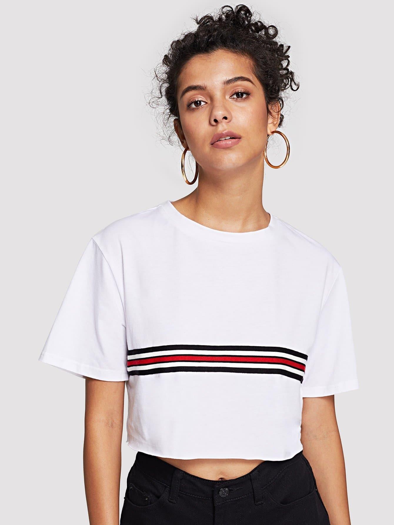 Купить Короткая футболка с полосками, Starl Lane, SheIn