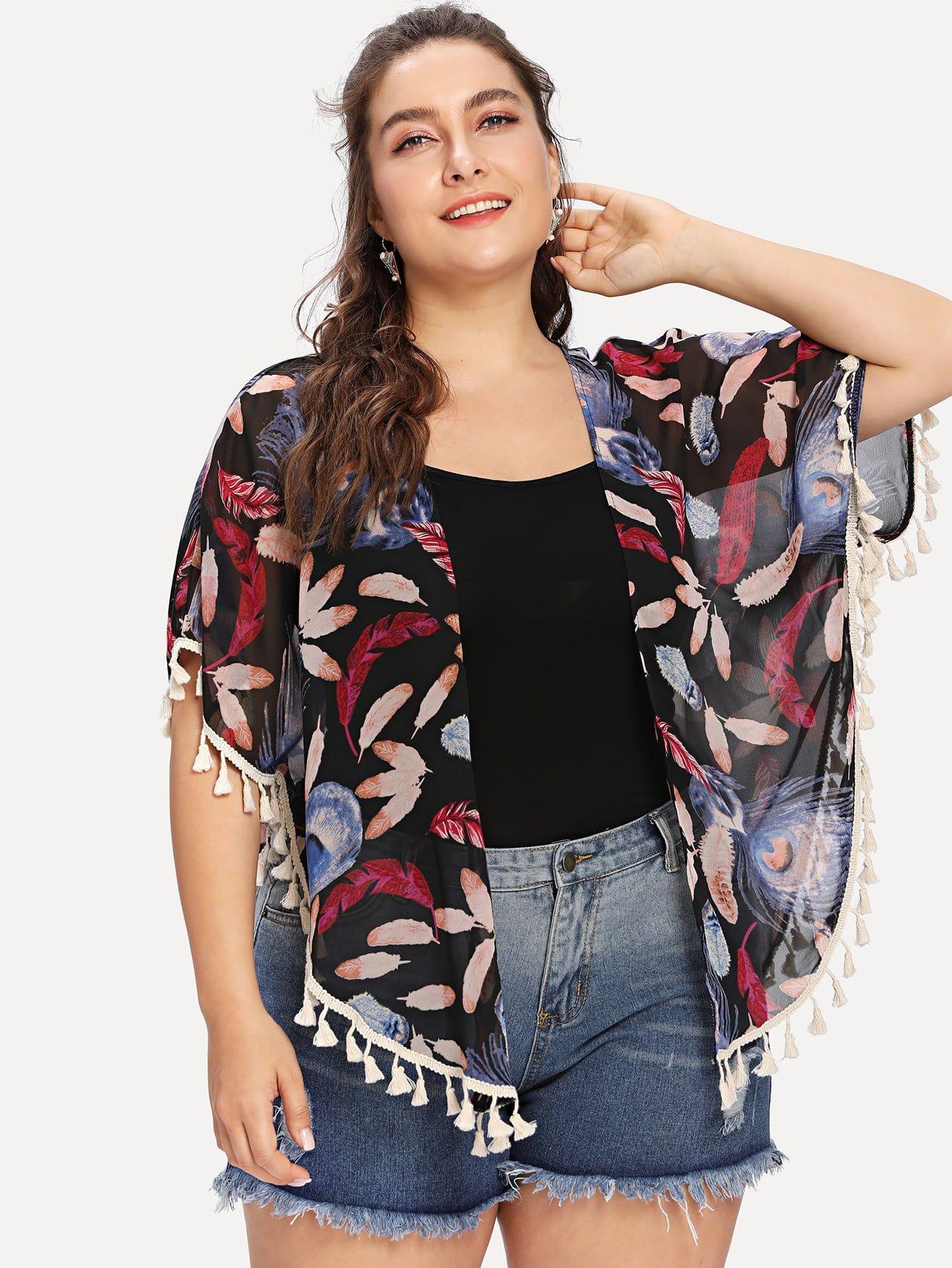 Plus Feather Print Fringe Hem Kimono knot hem star print kimono