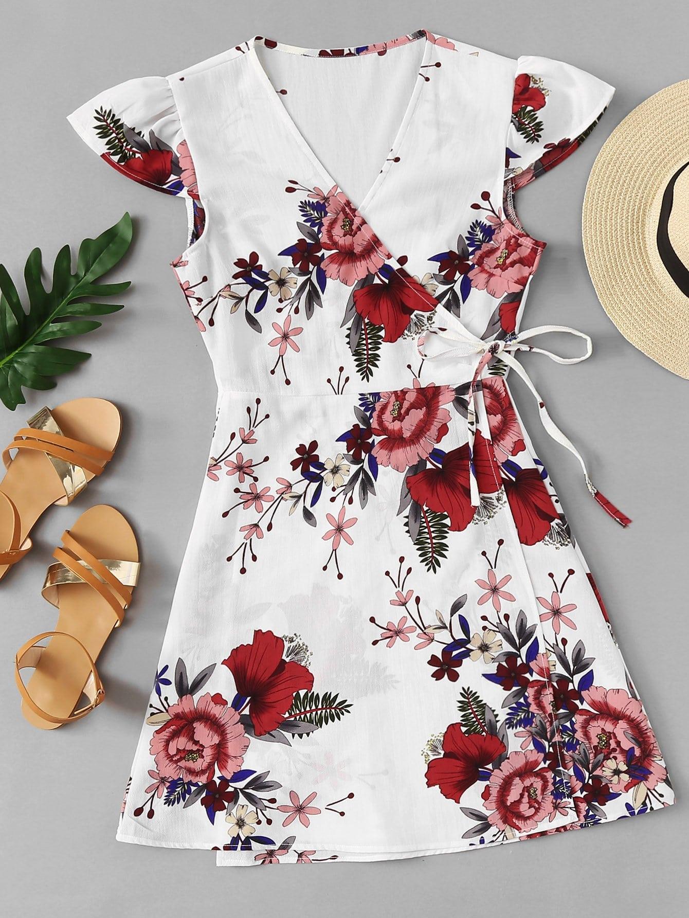 Floral Print Knot Side Wrap Dress