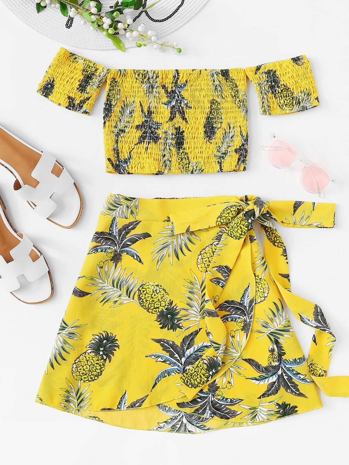 Pineapple Print Off The Shoulder Top With Skirt