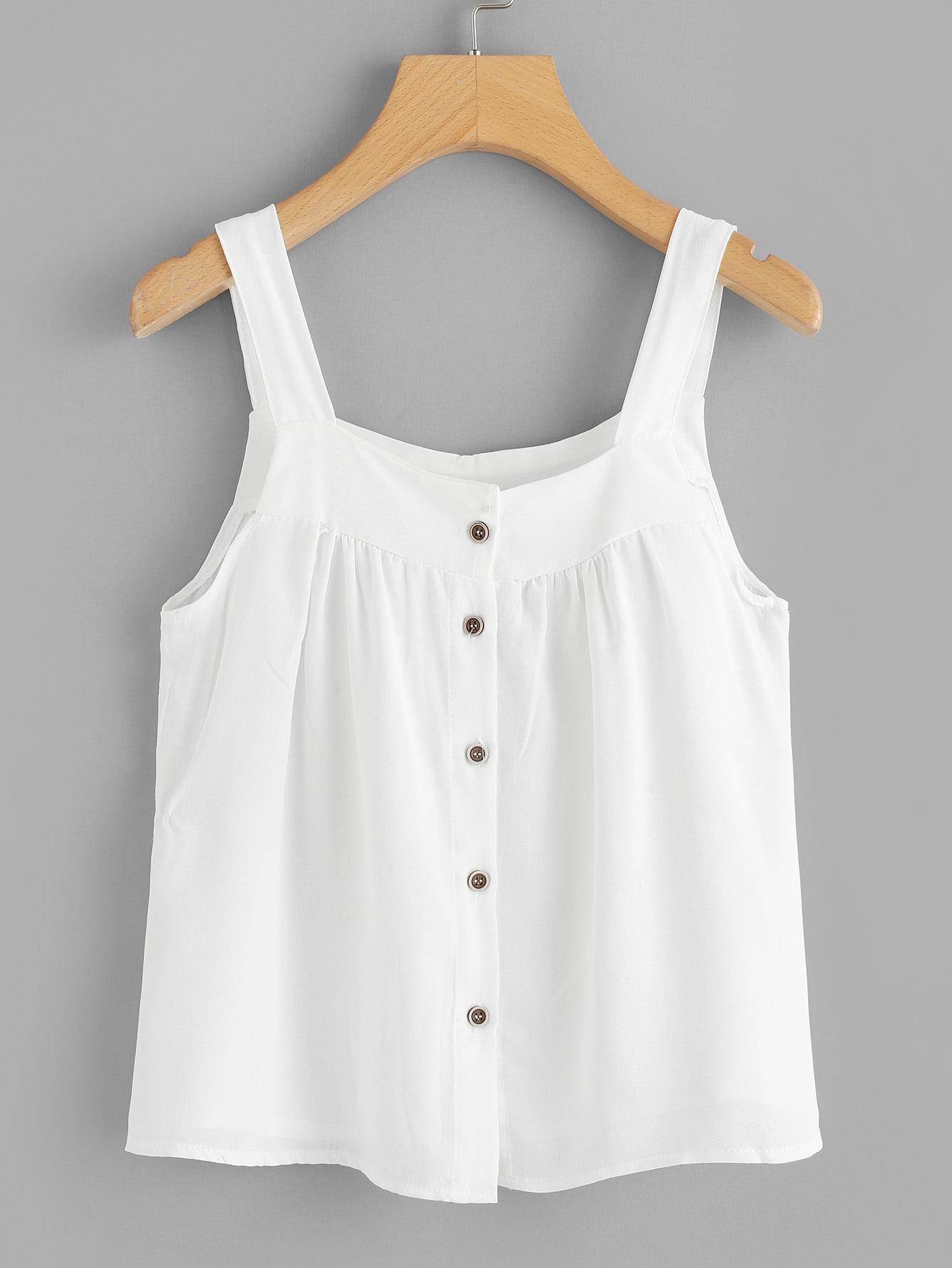 Купить Повседневный Одноцветный Пуговица Белый Блузы+рубашки, null, SheIn