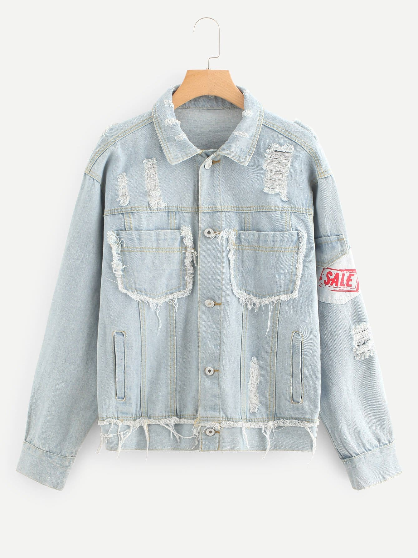 Letter Patched Ripped Denim Jacket men embroidery patched denim jacket