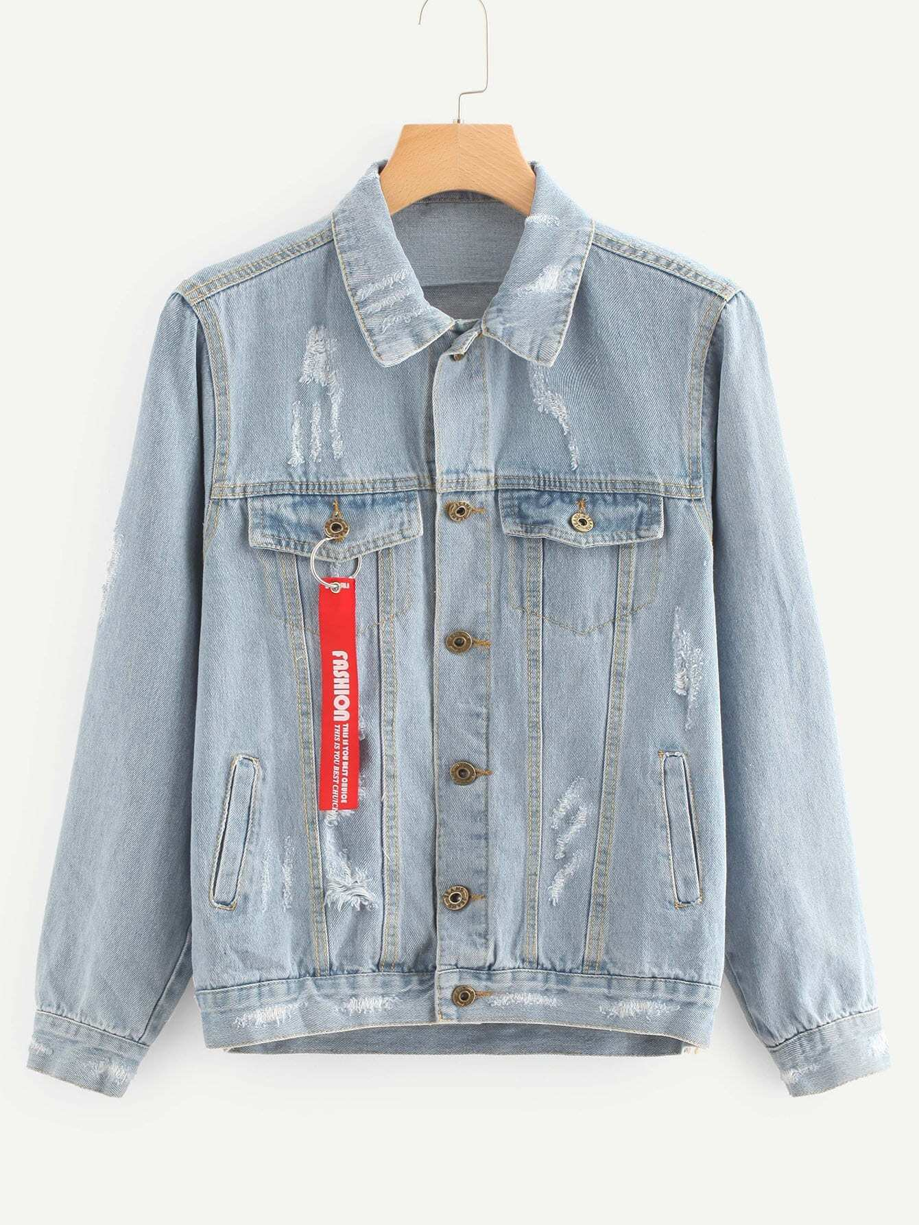 Letter Tape Detail Ripped Denim Jacket ripped stitch detail denim jacket