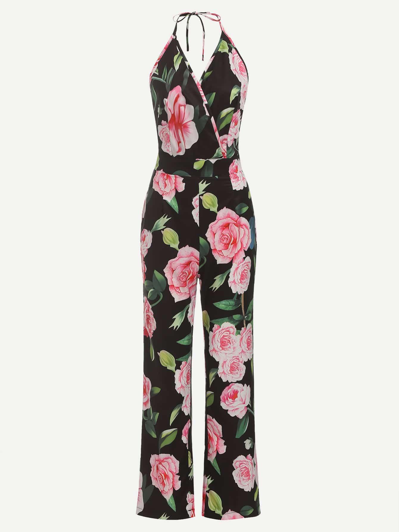 Open Back Floral Print Halter Jumpsuit
