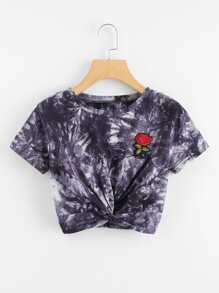 Rose Embroidered Patch Twist Crop Tee