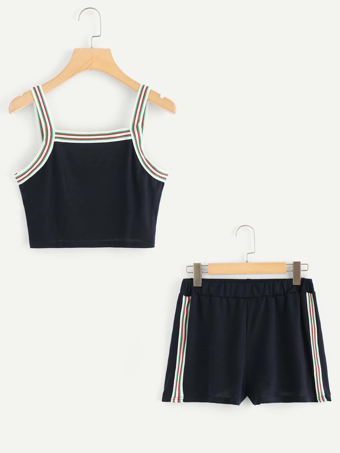 Contrast Striped Tape Cami Top With Shorts