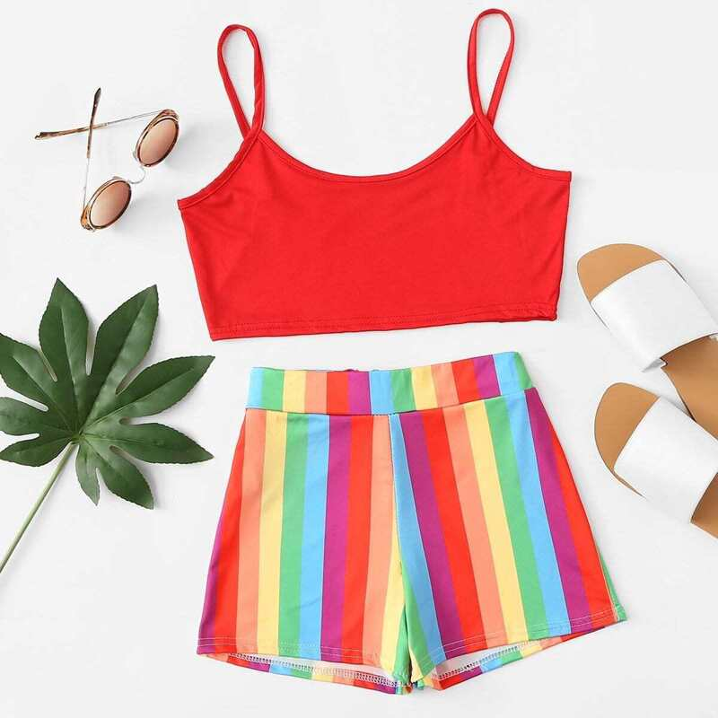 Crop Cami Top With Rainbow Striped Shorts, Multicolor