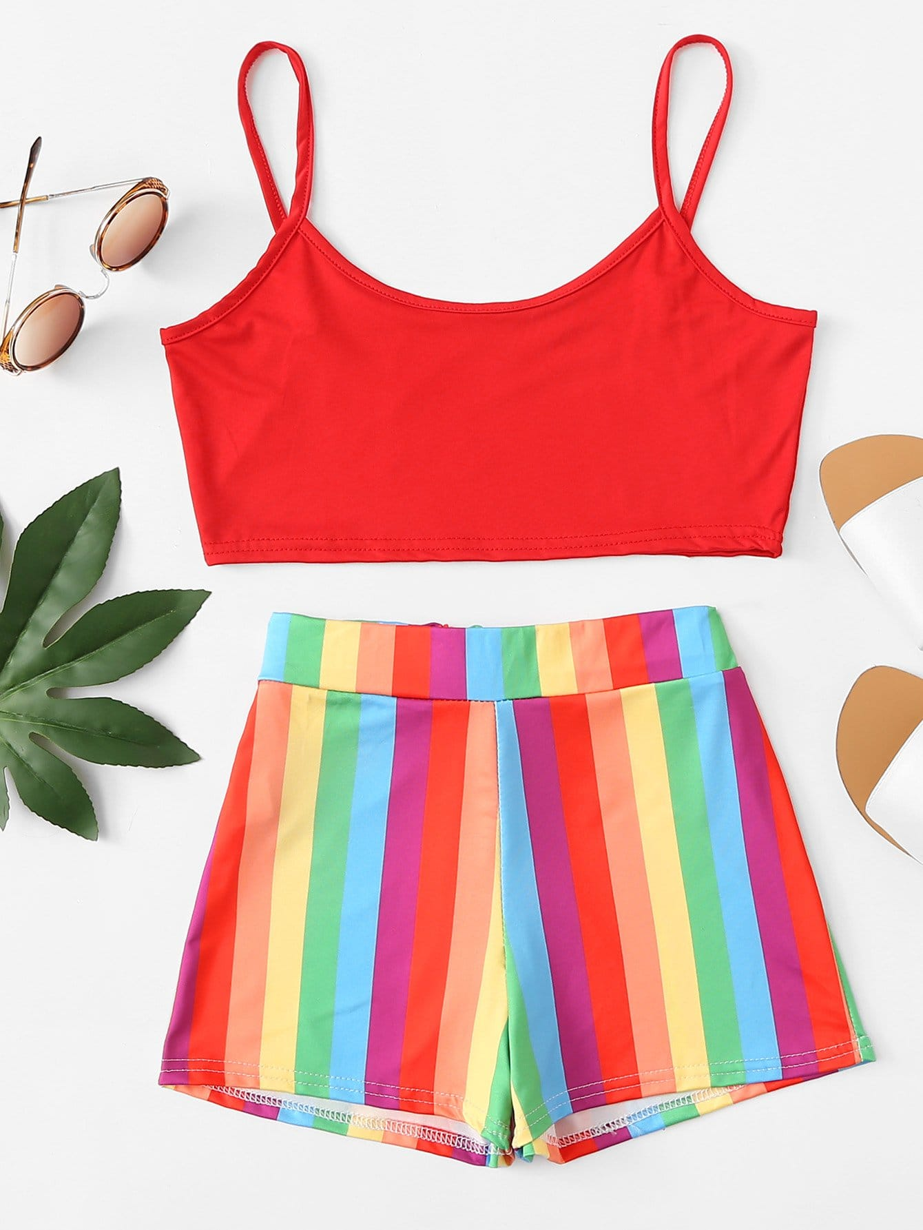 Crop Cami Top With Rainbow Striped Shorts sony mhc v77dw