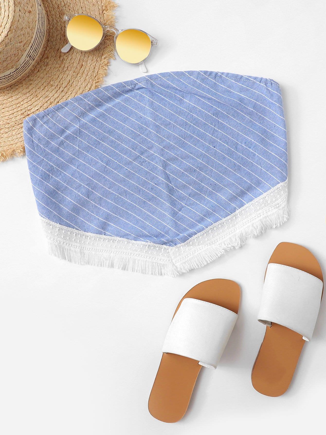 Tie Back Fringe Hem Striped Bandeau Top