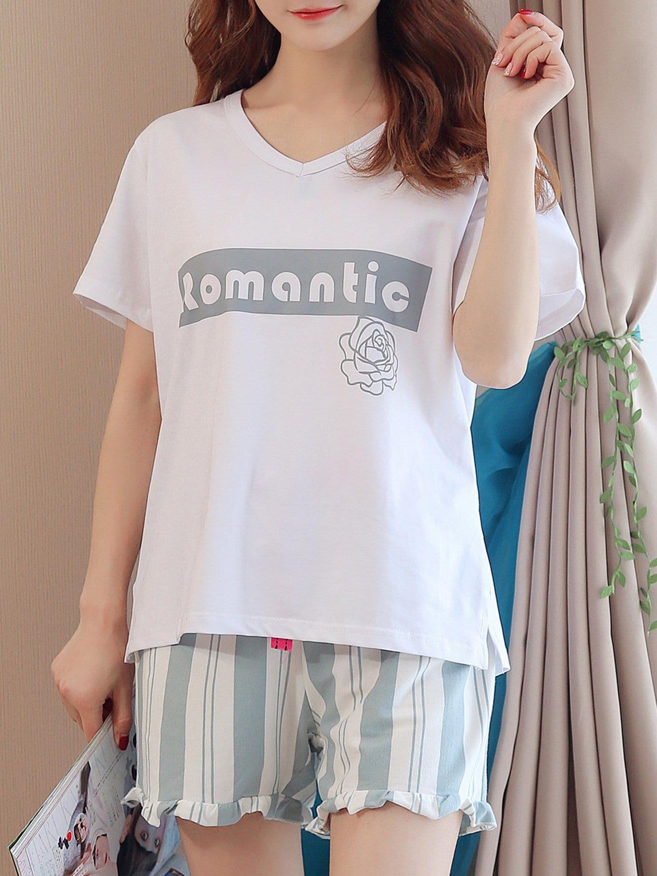 Купить Комплект пижамы топ с принтом надпись и шорты с полосками, null, SheIn