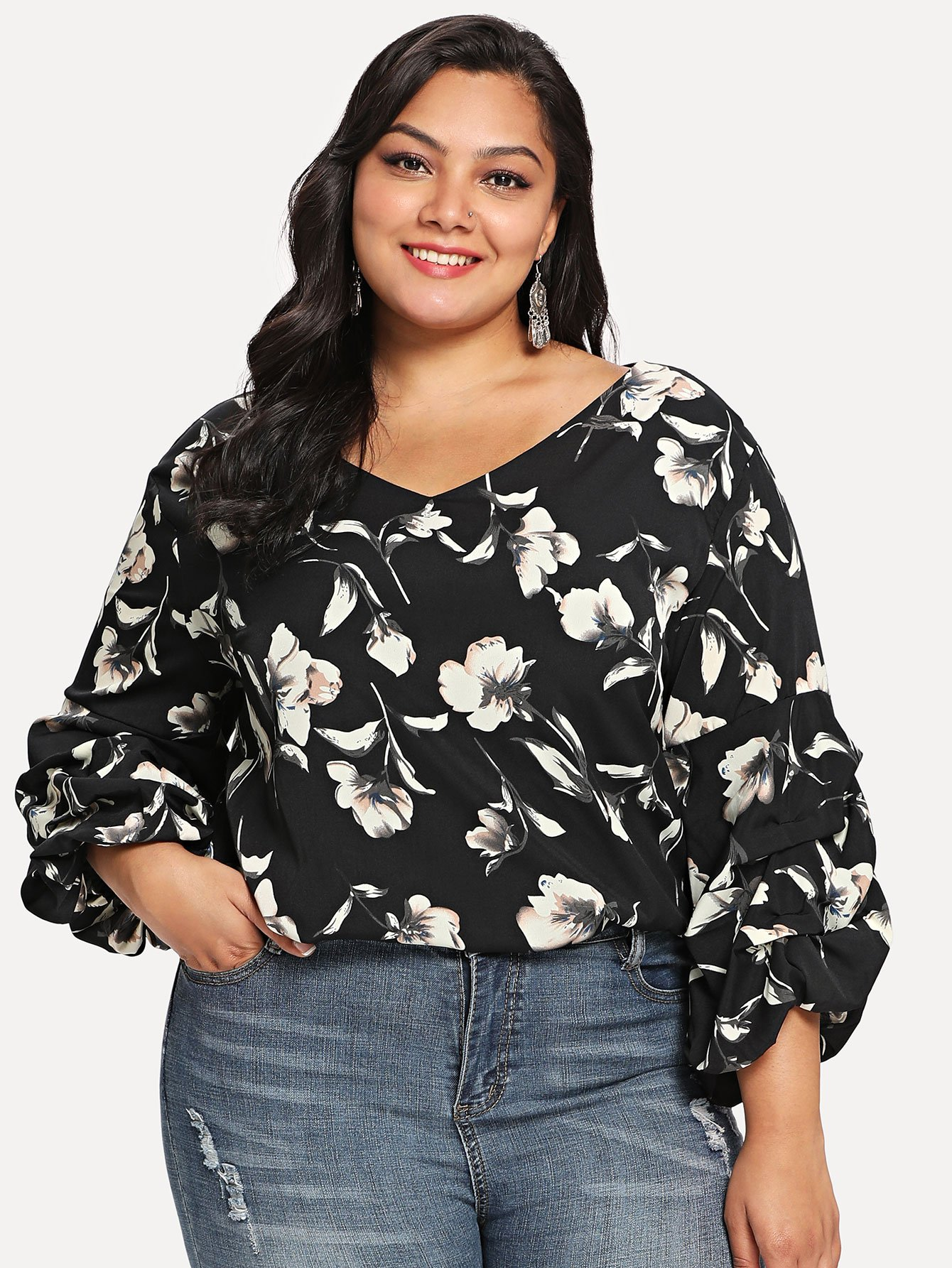 Gathered Sleeve Floral Top gathered neck floral sleeveless top