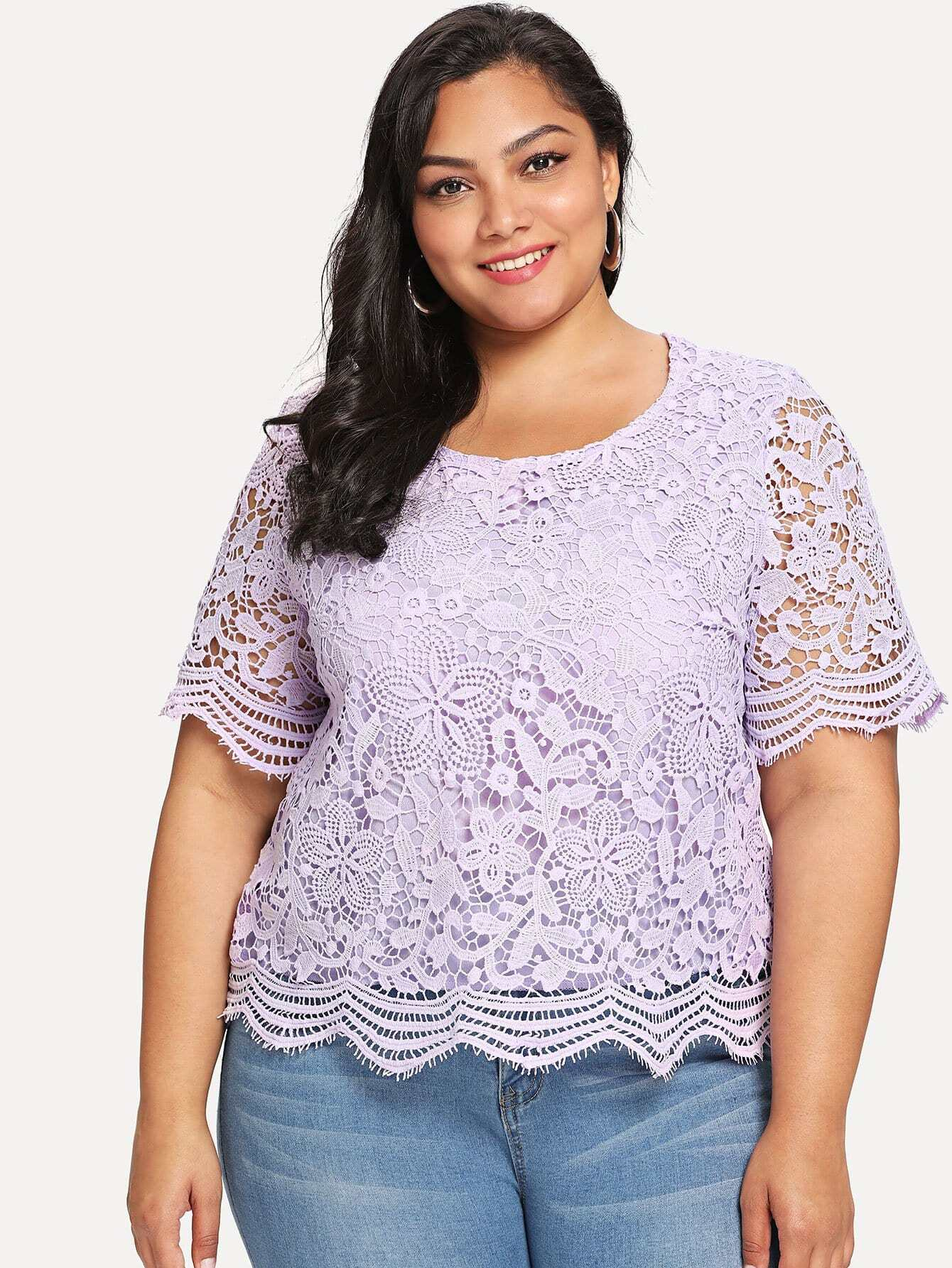 Guipure Lace Overlay Top guipure lace panel top