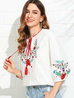 Tassel Tie Neck Flower Embroidered Top