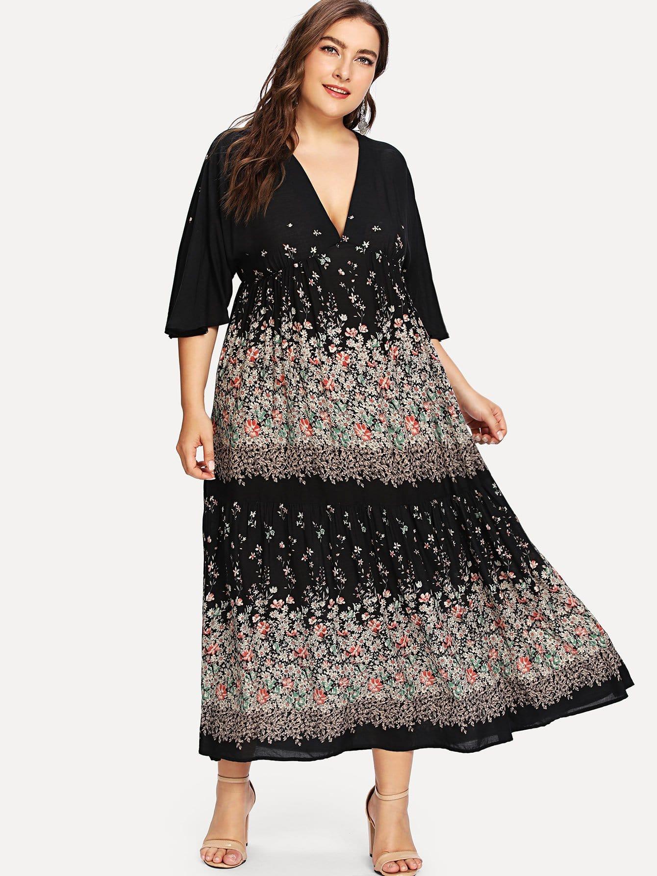 Купить Платье в цветочек и с широкими рукавами, Franziska, SheIn
