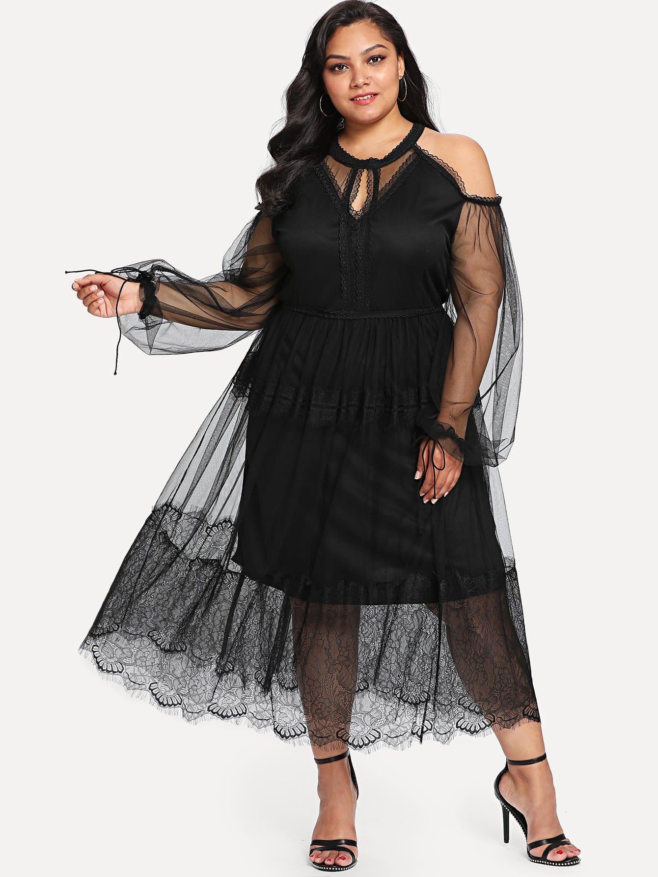 Plus Keyhole Halter Neck Lace Trim Mesh Overlay Dress white sleeveless mesh and lace overlay details playsuit