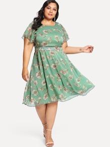 Plus Flutter Sleeve Floral Dress