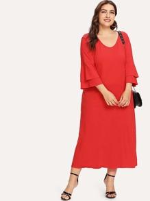 Layered Bell Sleeve Tunic Dress
