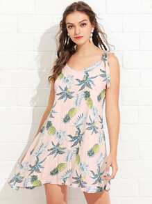 Tropical Print Tied Strap Dress