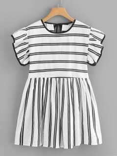 Ruffle Embellished Stripe Flare Dress