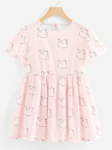 Flounce Sleeve Allover Bird Print Dress