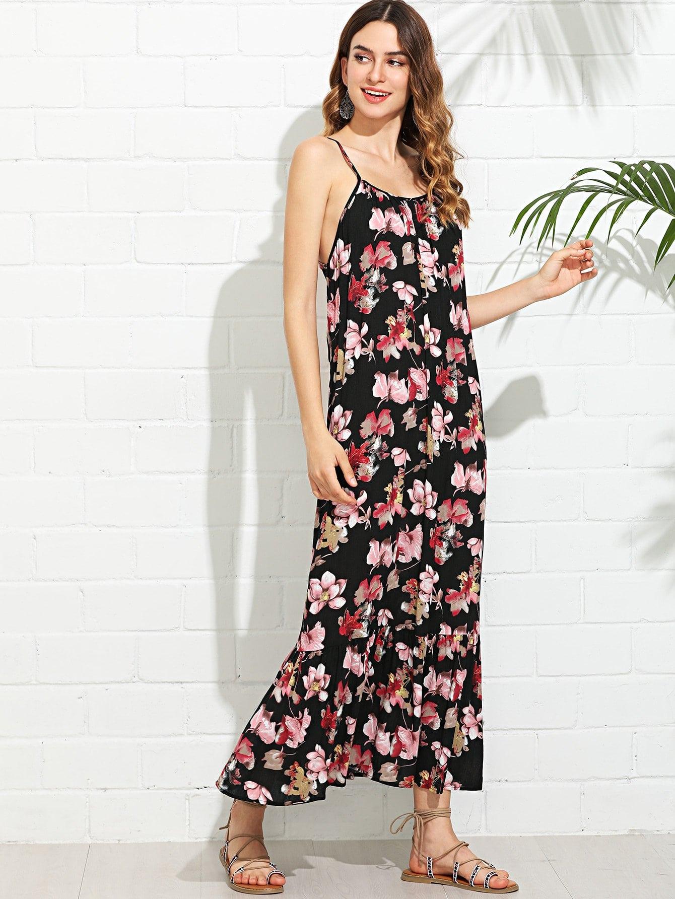 цена на Ruffle Hem Low Back Floral Cami Dress