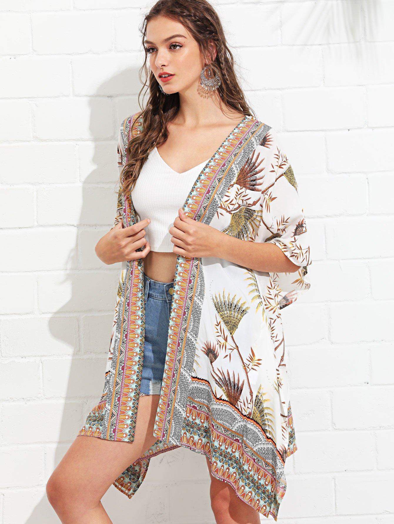 Mixed Print Longline Kimono rib knit longline kimono