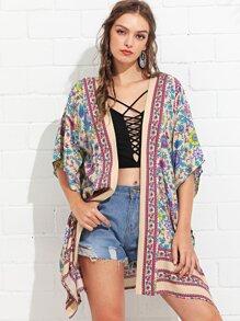 Flower Print Longline Kimono
