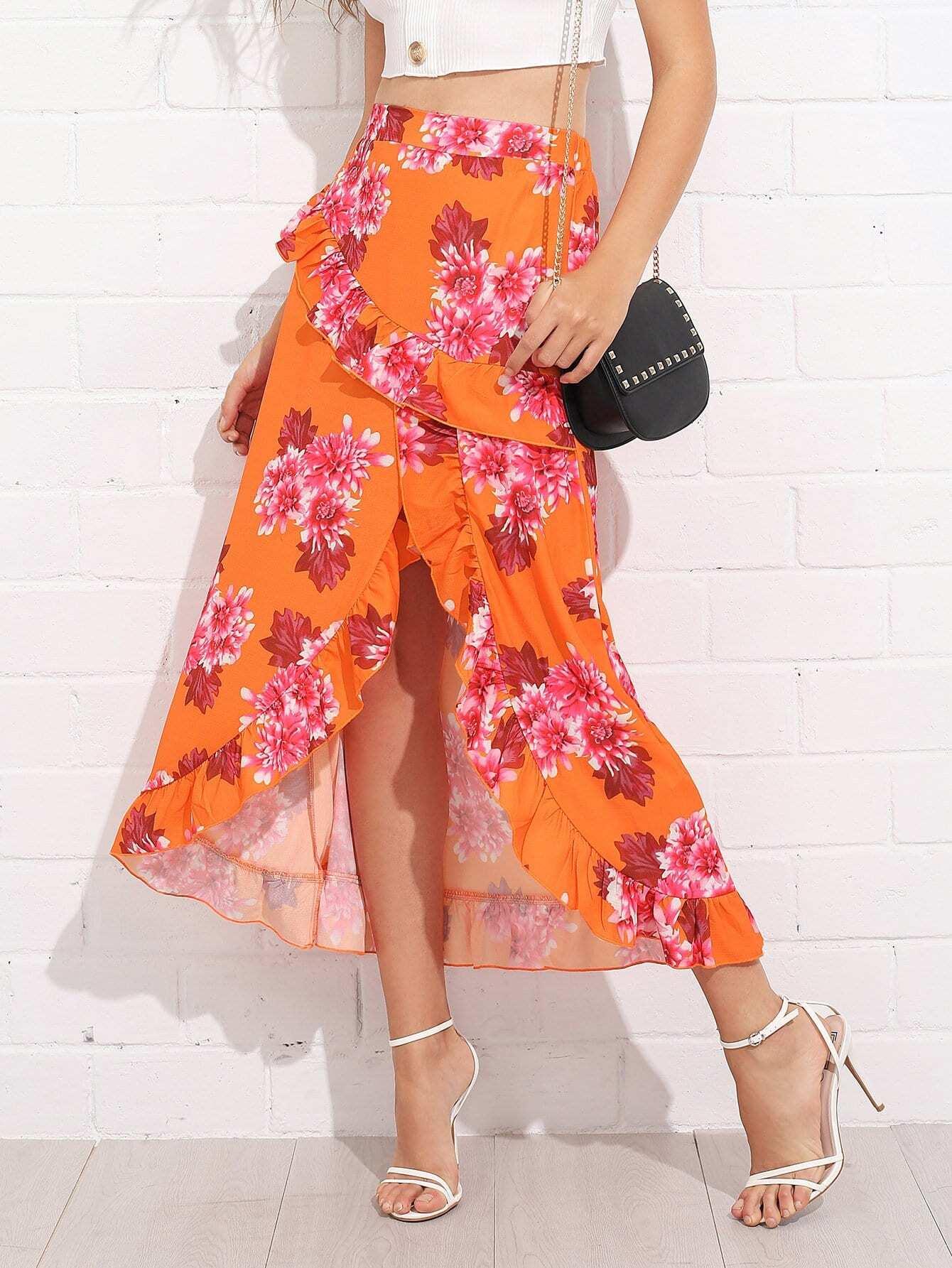 Asymmetrical Ruffle Trim Floral Skirt asymmetrical ruffle trim floral skirt