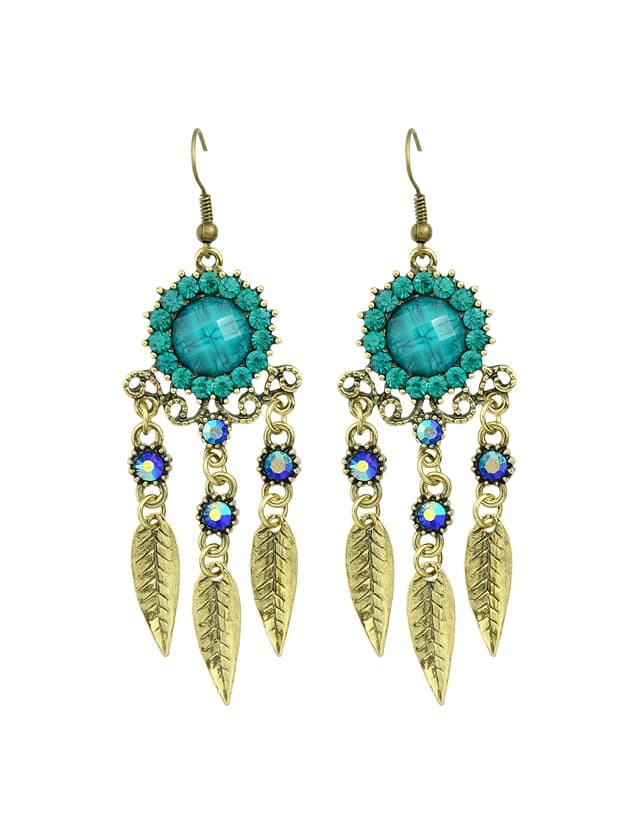 Blue Rhinestone Hollow Out Leaf Earrings