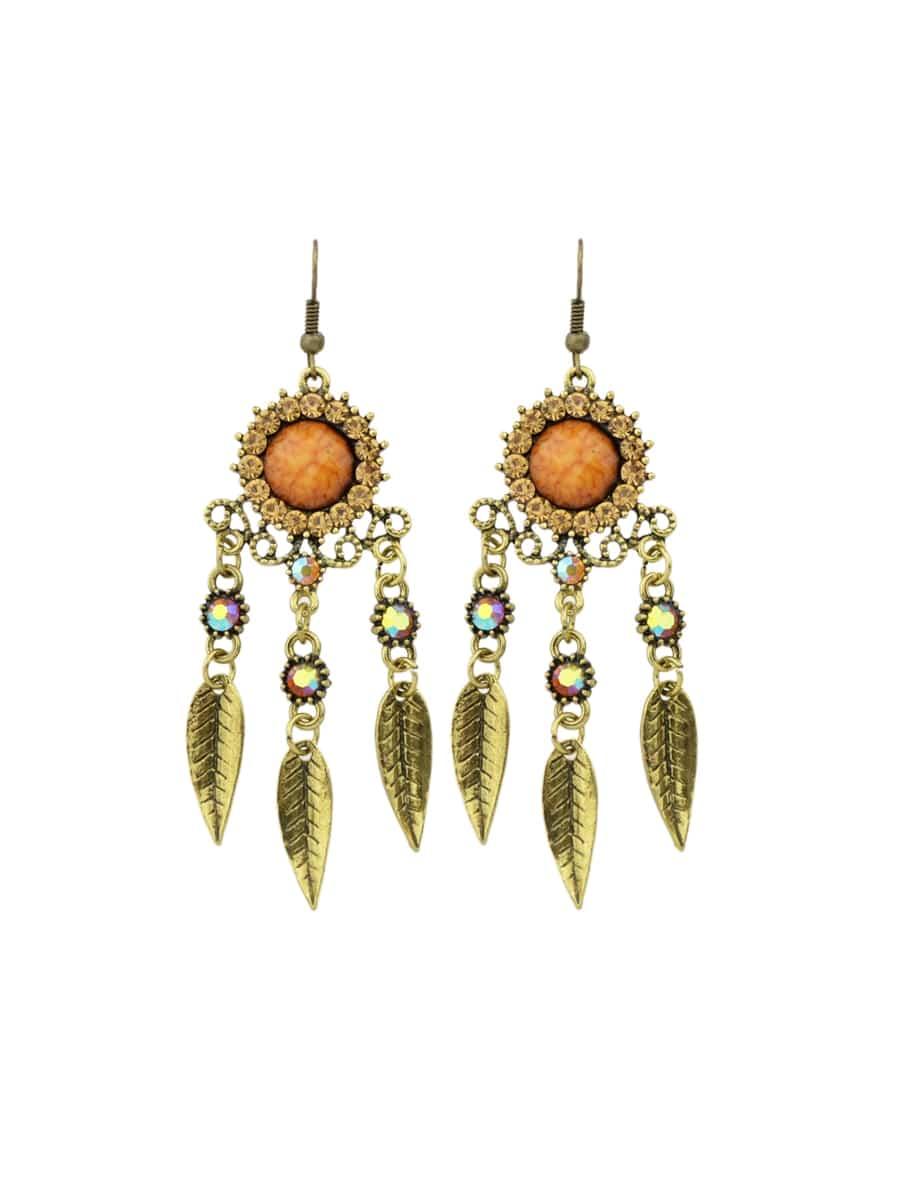 Brown Rhinestone Hollow Out Leaf Earrings