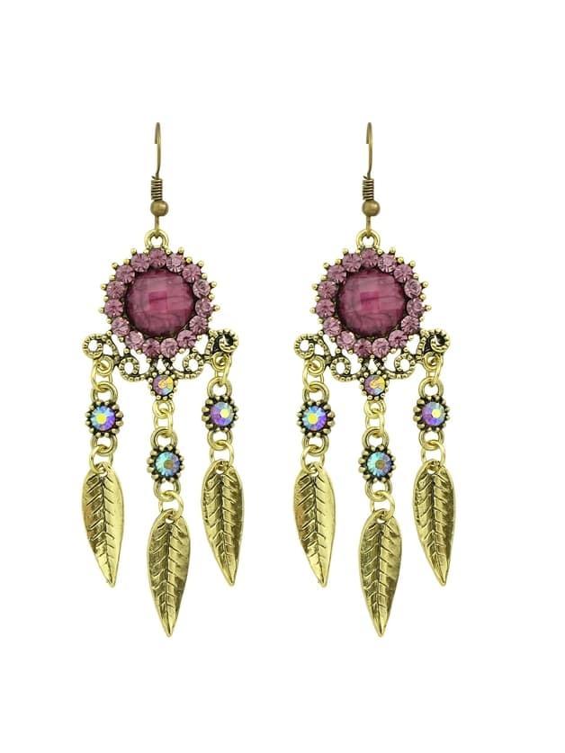 Purple Rhinestone Hollow Out Leaf Earrings