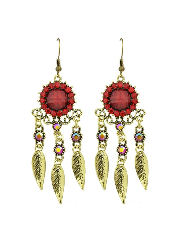 Red Rhinestone Hollow Out Leaf Earrings