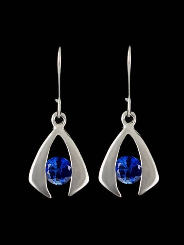 Blue Simulated Crystal Brand Brincos Rhombus Drop Earrings