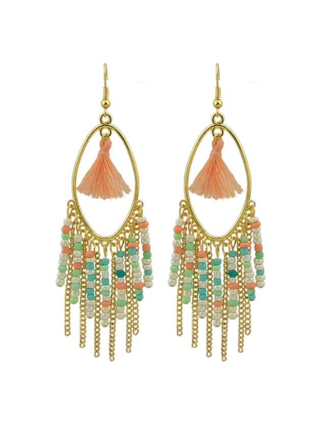 Colorful Beads Chain Tassel Long Earrings