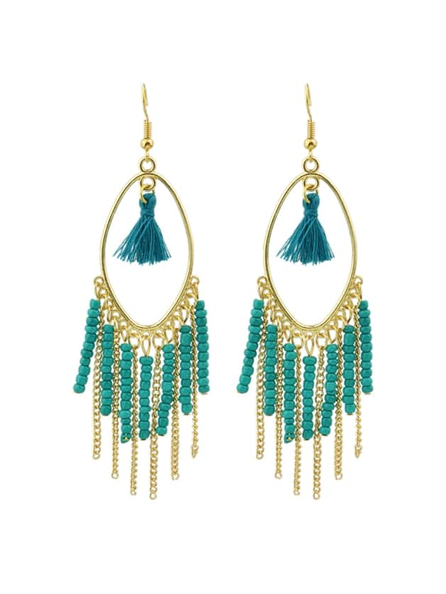 Green Colorful Beads Chain Tassel Long Earrings