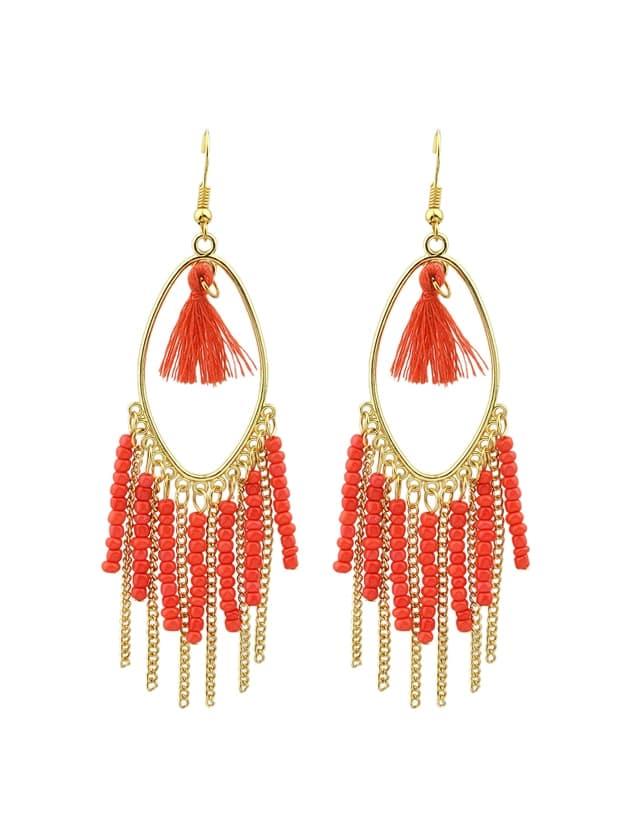 Red Colorful Beads Chain Tassel Long Earrings