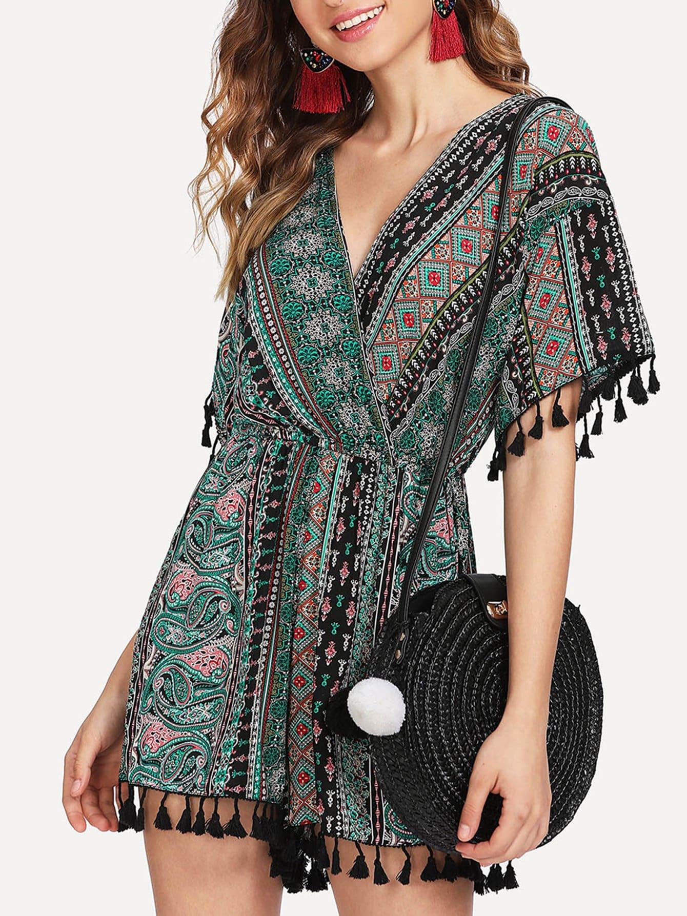 V Neckline Geo Print Fringe Trim Romper v neckline geo print dress