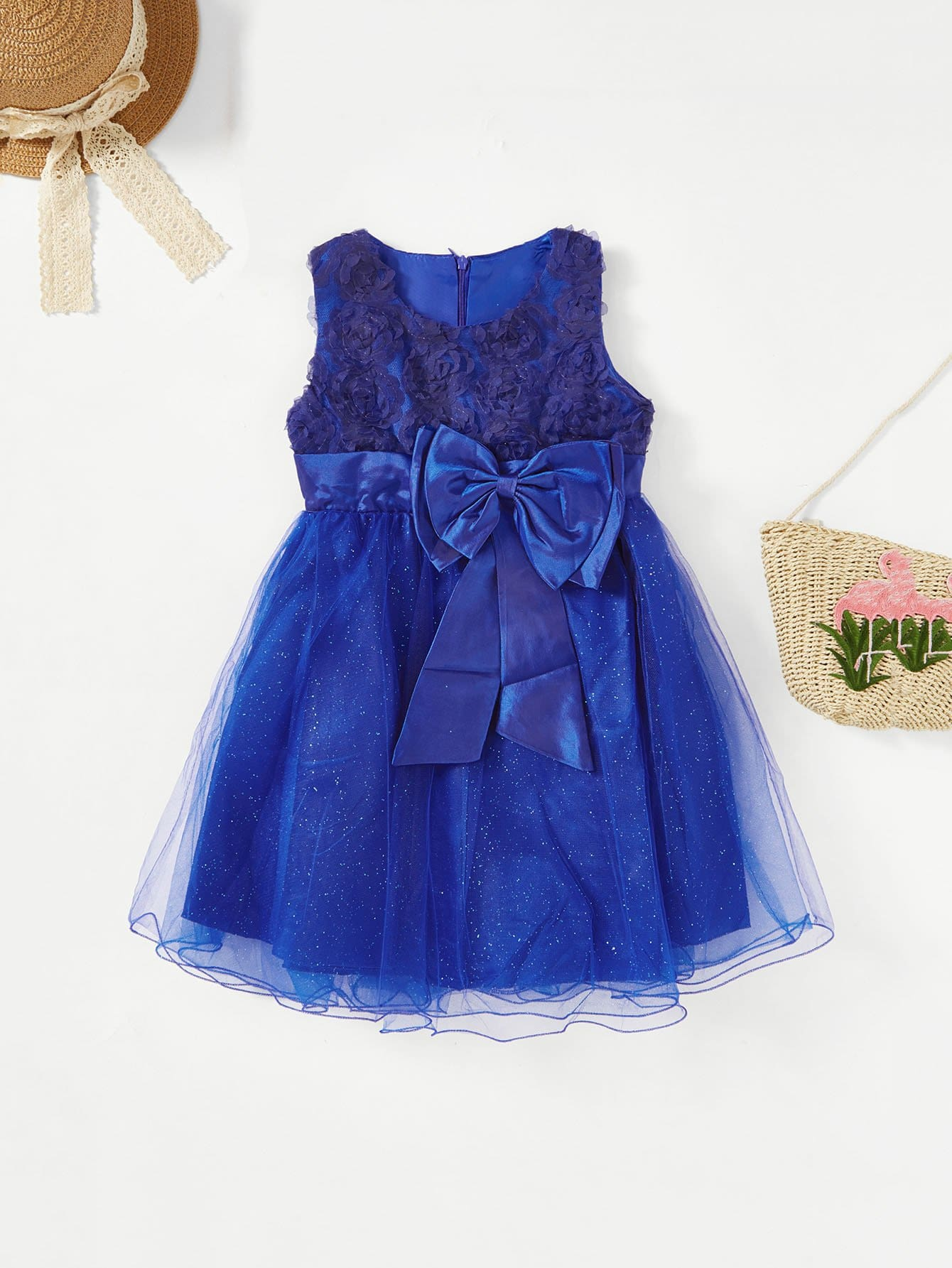 Girls Stereo Rose Bow Tie Tiered Mesh Ball Gown