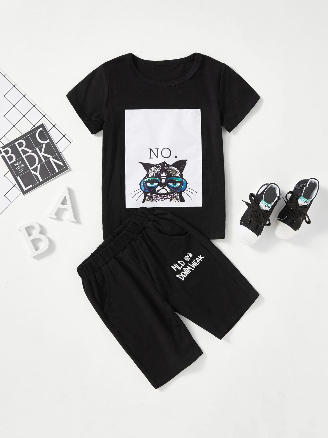 Kids Cat Print Tee With Pants kids velvet hoodie with pants
