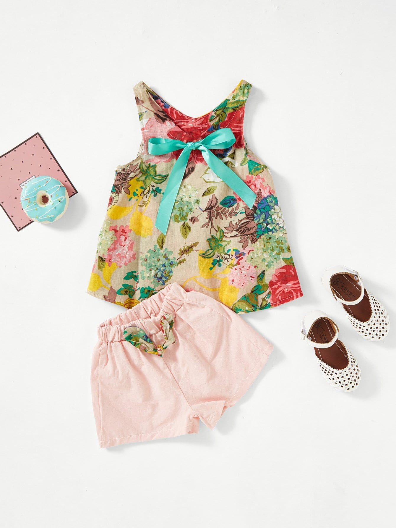 Kids Floral Print Knot Front Top With Shorts knot front floral print top
