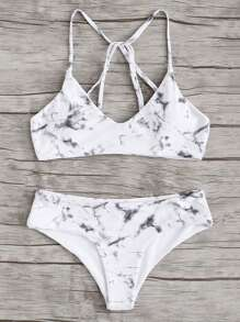 Marble Print Bikini Set