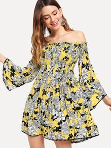 Bell Sleeve Crochet Pompom Trim Smock Floral Dress
