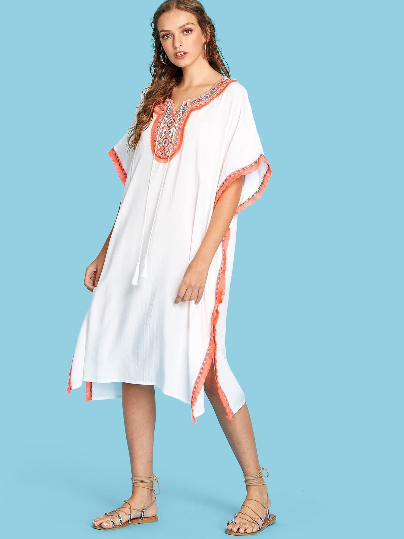 Купить Платье пончо с вышивкой и бахромой, Luiza, SheIn